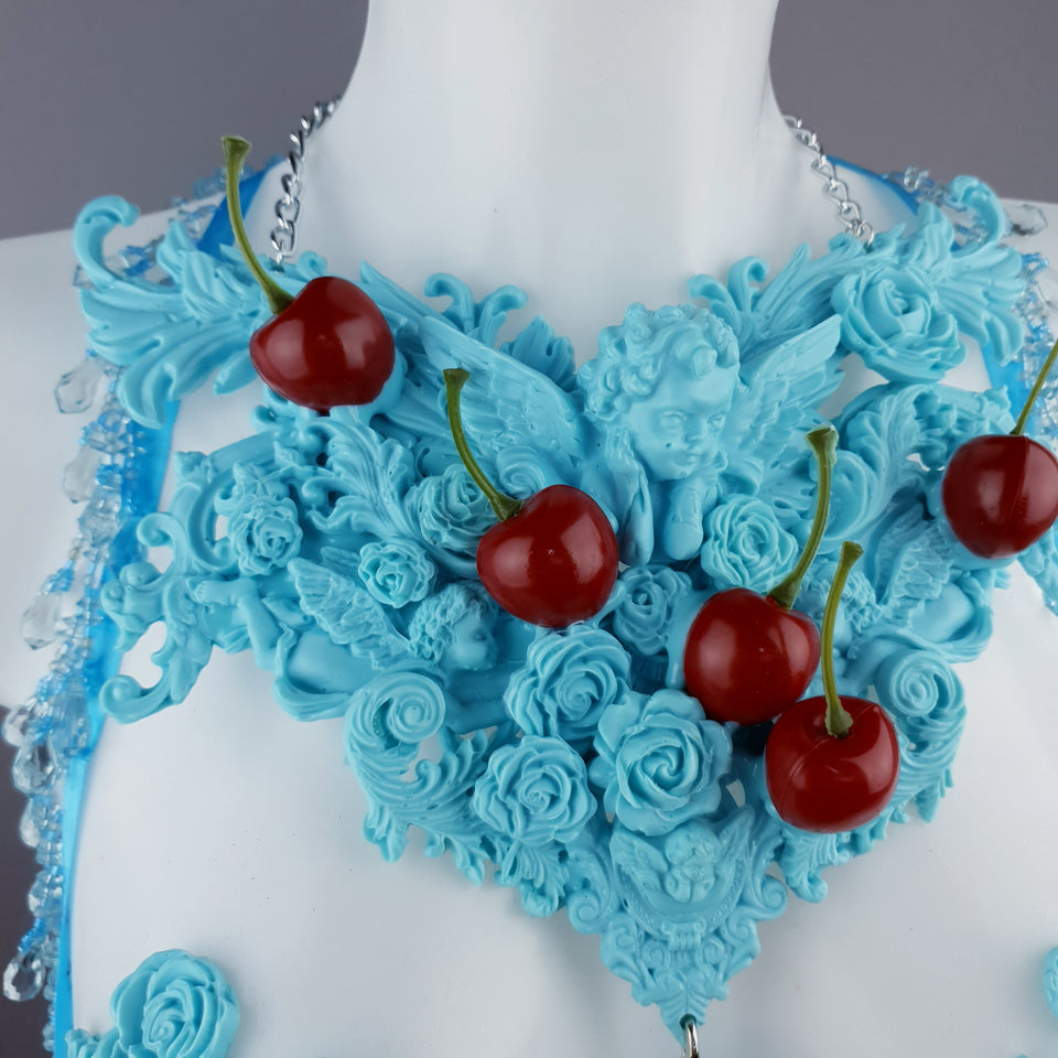 """Bobelo"" Blue Cherry Filigree & Beading Body Jewellery with Nipple Pasties"