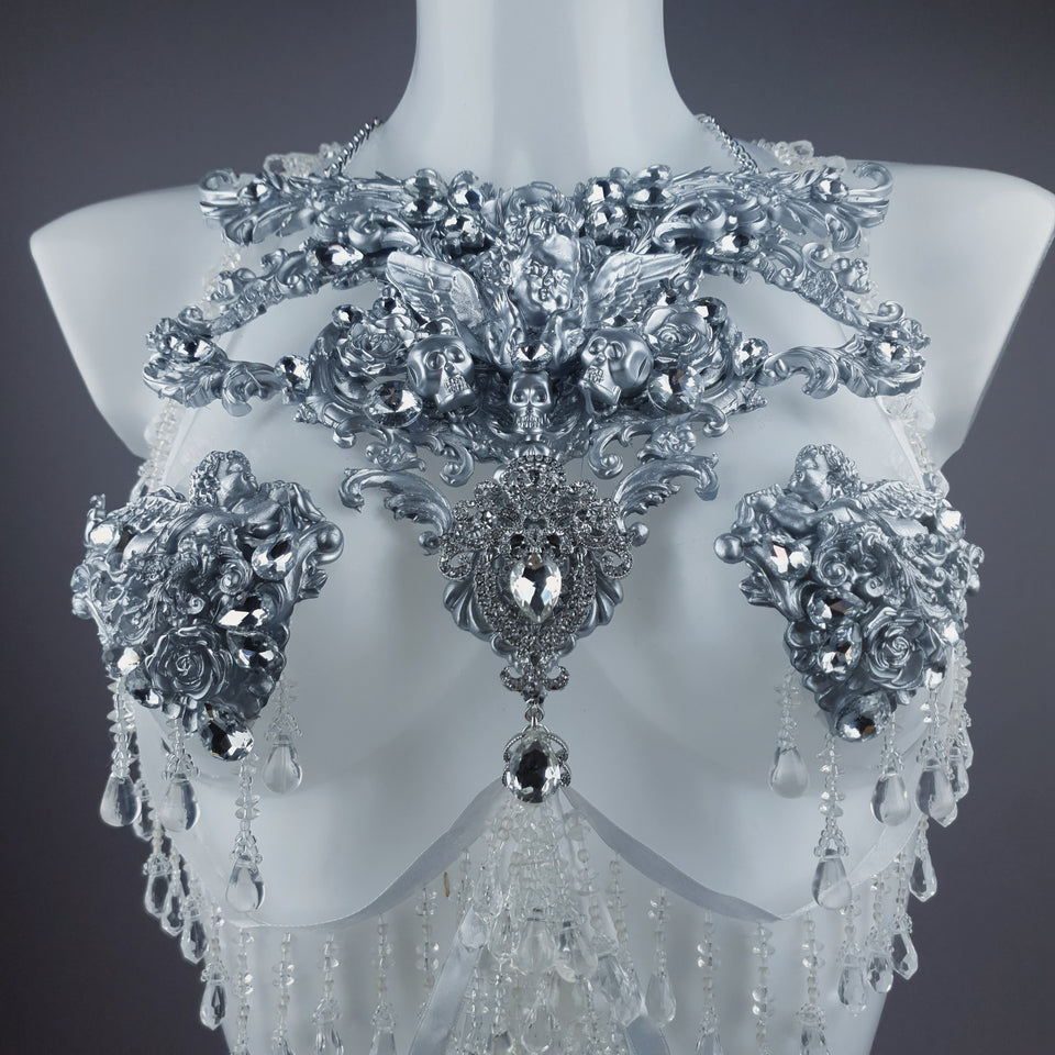 """Ice"" Silver Filigree & Beading Body Jewellery with Nipple Pasties"