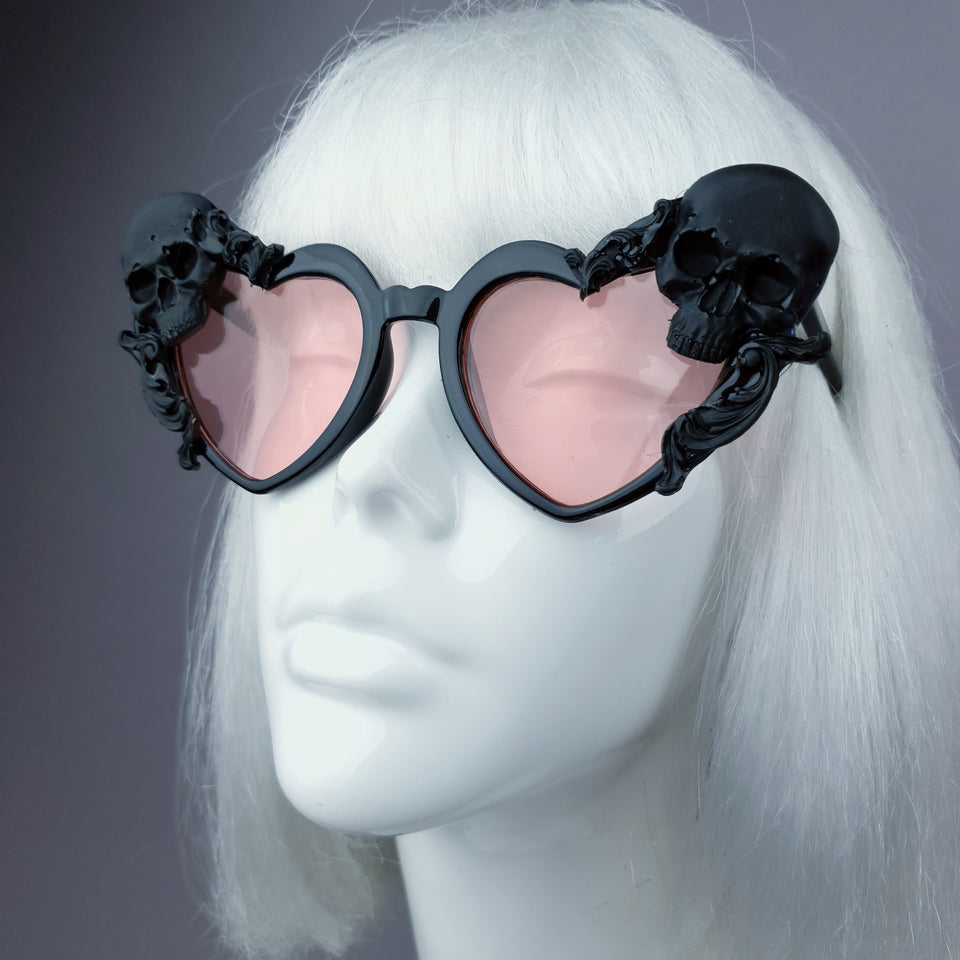 """Doom"" Skull Heart Shaped Sunglasses - Black with Pink Lenses"