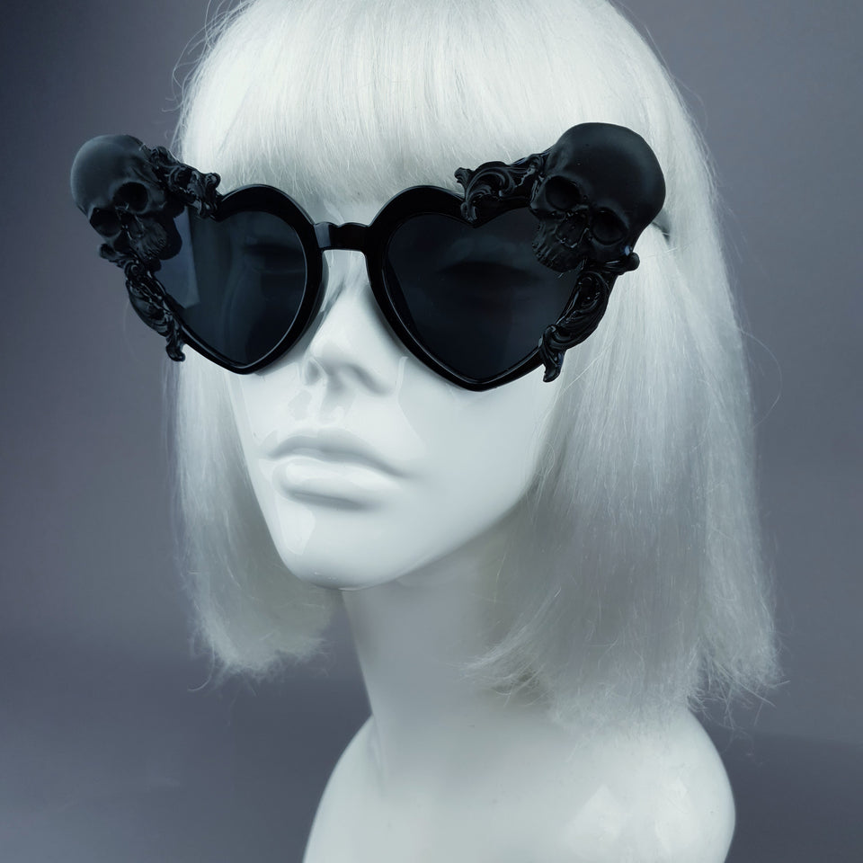 """Doom"" Black Skull Heart Shaped Sunglasses"