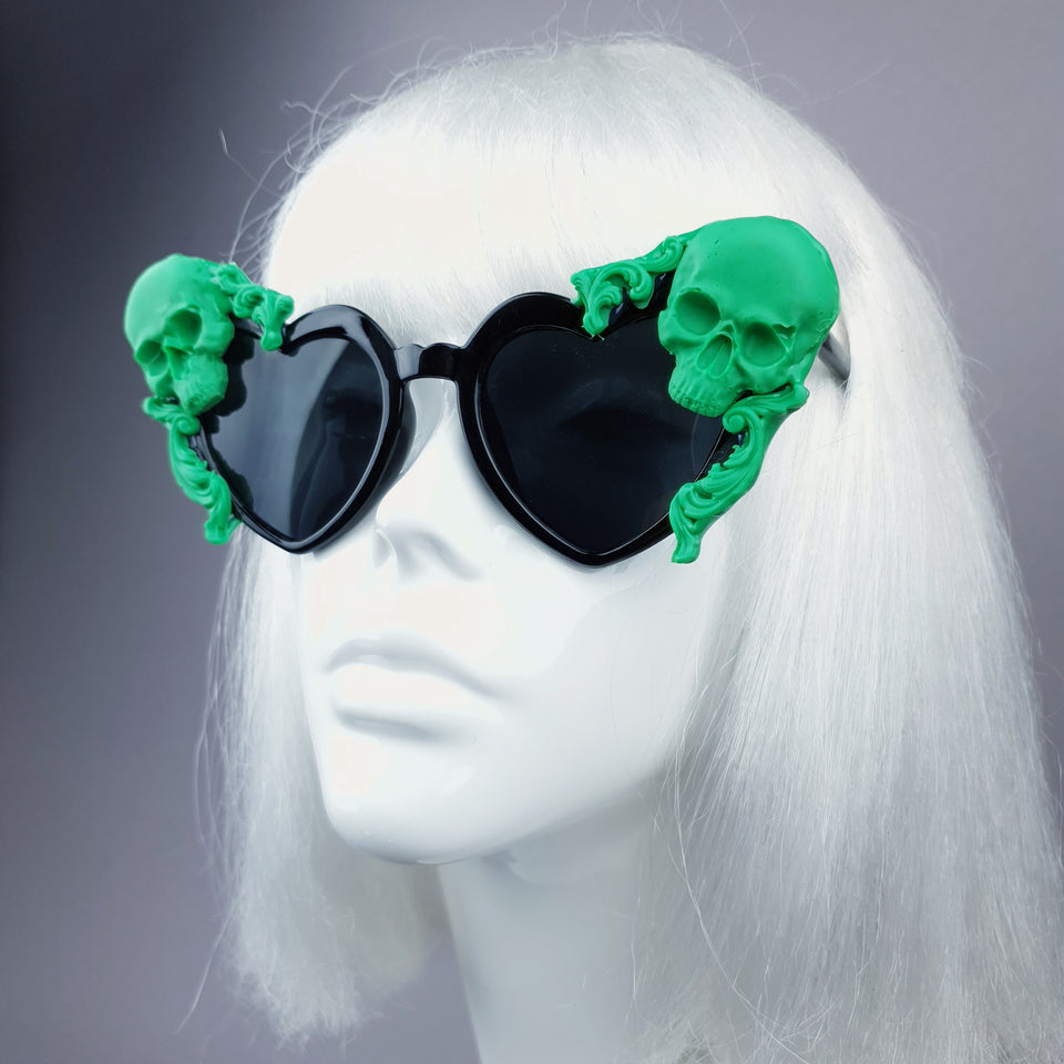 """Doom"" Green Skull Black Heart Shaped Sunglasses"