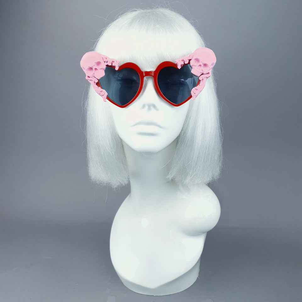 """Doom"" Pink Skull Red Heart Shaped Sunglasses"