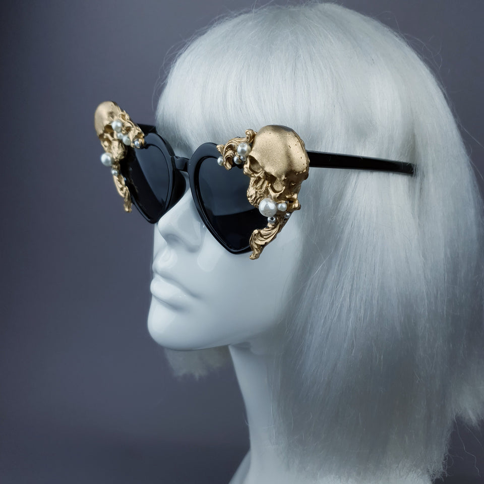 """Doom"" Gold & Pearl Skull Black Heart Shaped Sunglasses"