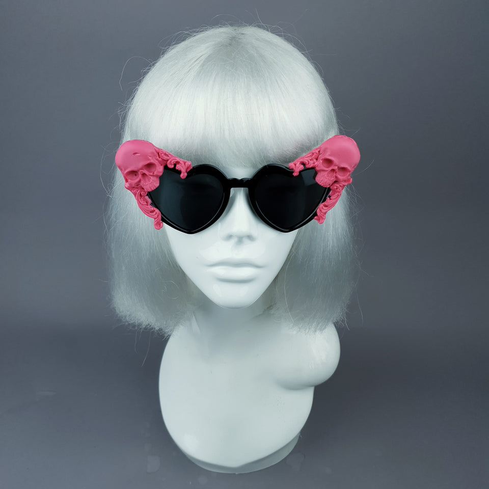 """Doom"" Pink Skull Black Heart Shaped Sunglasses"