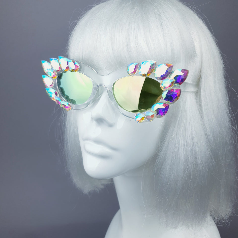 """Sparkle"" Iridescent Jewel Cats Eye Sunglasses"