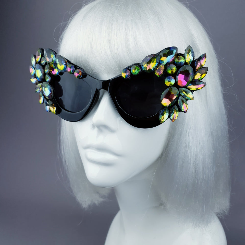 """Esmaralda"" Iridescent Jewel Cats Eye Sunglasses"