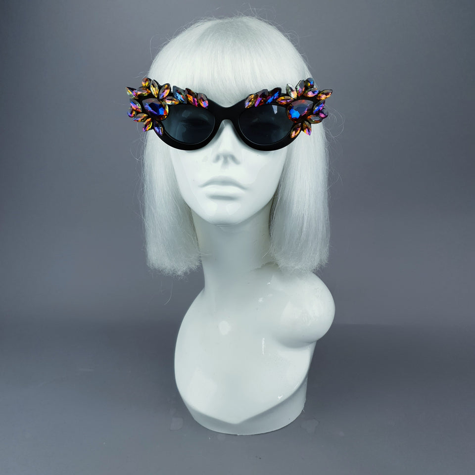 """Safira"" Iridescent Jewel Cats Eye Sunglasses"