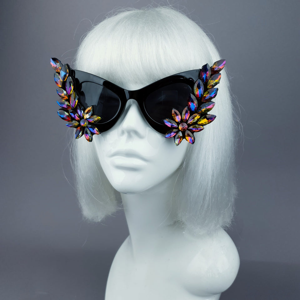 """Krystallos"" Iridescent Jewel Cats Eye Sunglasses"