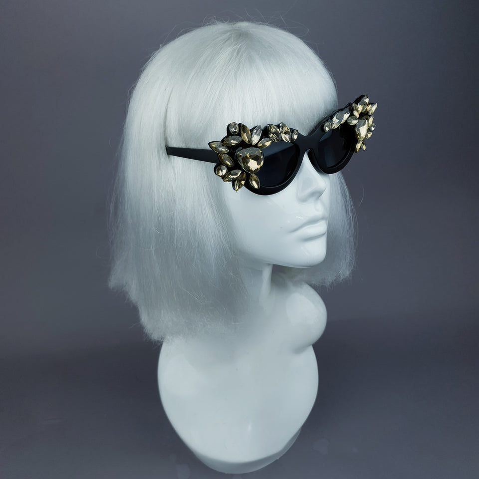 """Diamanda"" Gold Diamante Jewel Cats Eye Sunglasses"