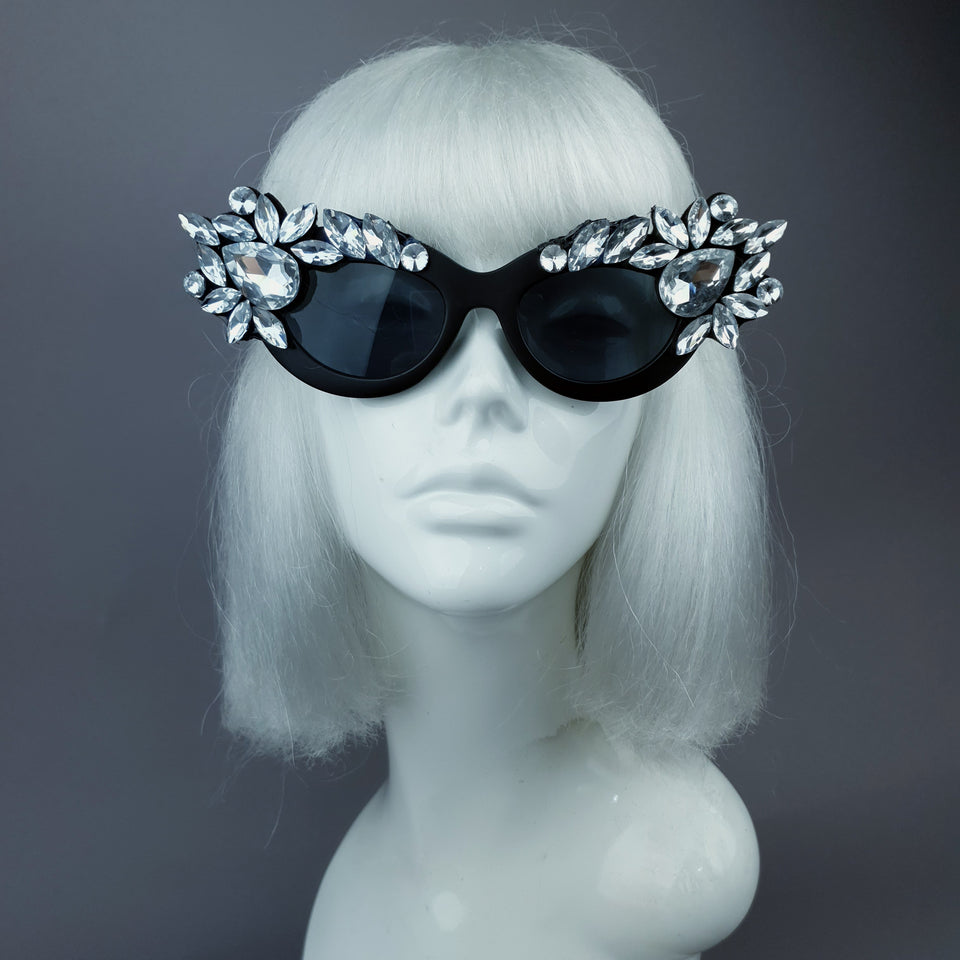 """Diamanda"" Clear Diamante Jewel Cats Eye Sunglasses"
