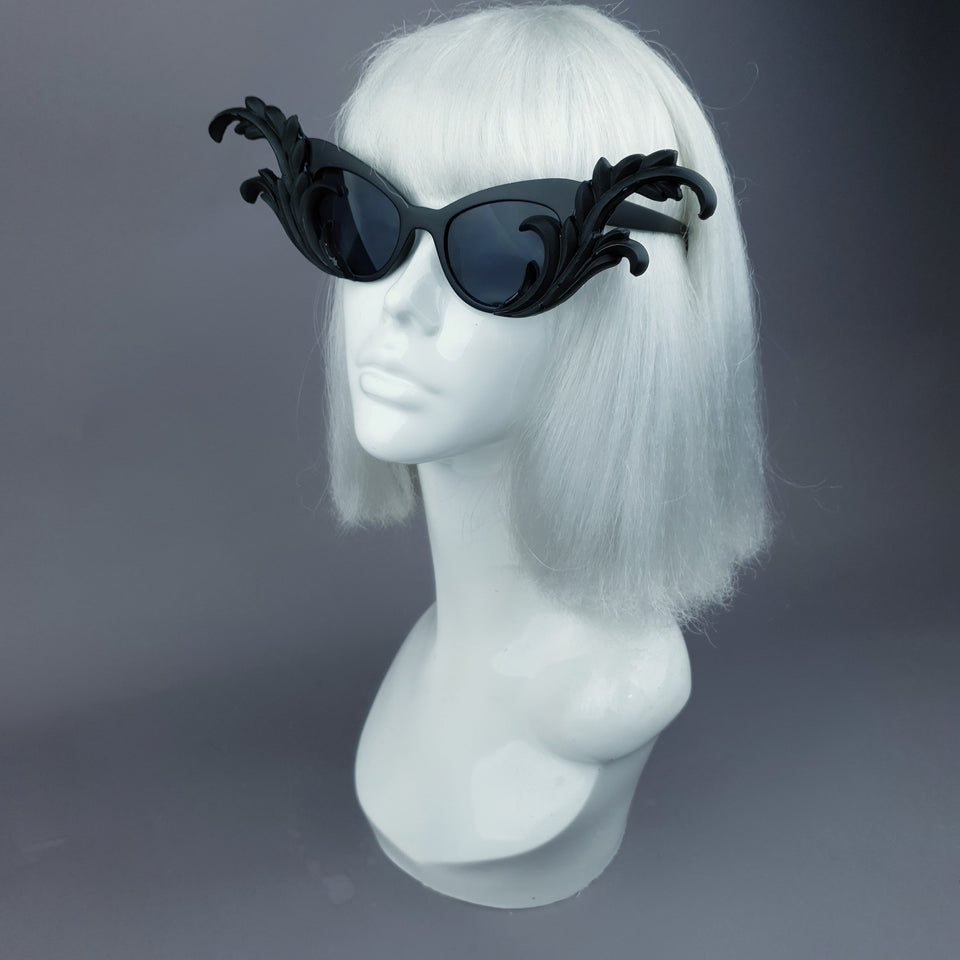 """Kokoro"" Black OTT Filigree Statement Sunglasses"