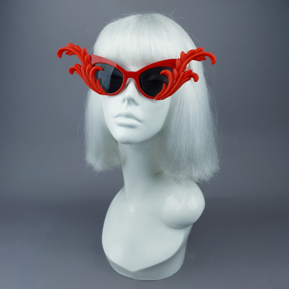 """Kokoro"" Red OTT Filigree Statement Sunglasses"