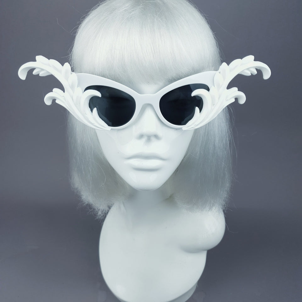 """Kokoro"" White OTT Filigree Statement Sunglasses"