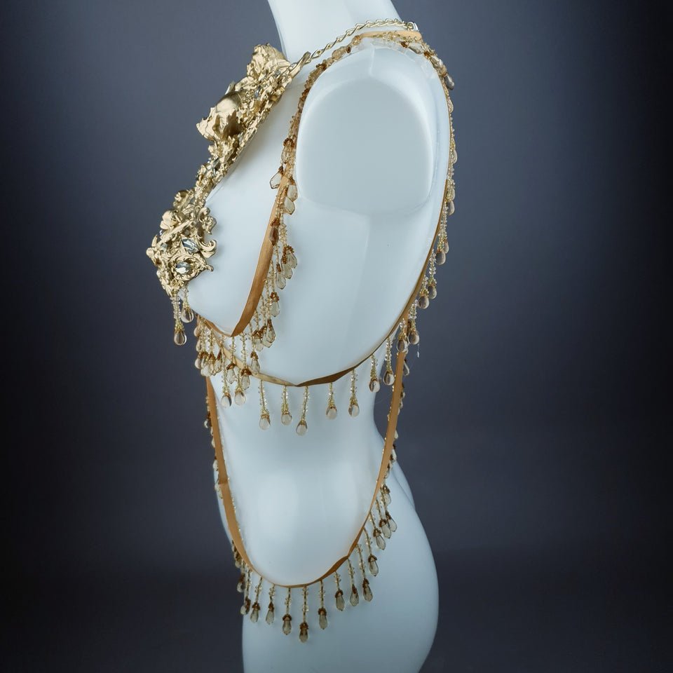"""Visage"" Gold Filigree Beading Harness Body Jewellery"