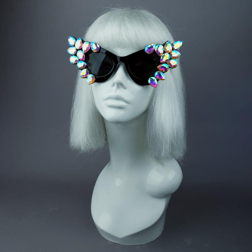"""Hira"" Iridescent Jewel Cats Eye Sunglasses"