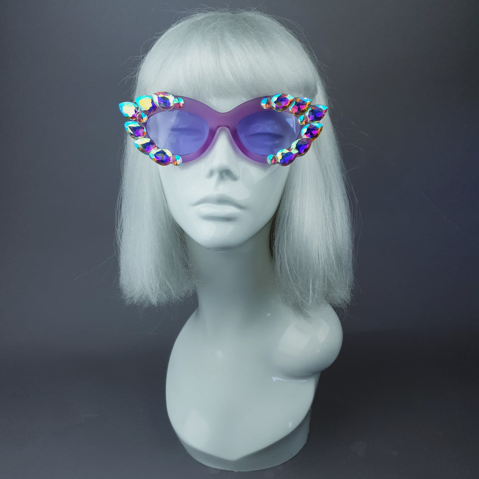 """Sparkle"" Iridescent Purple Jewel Cats Eye Sunglasses"