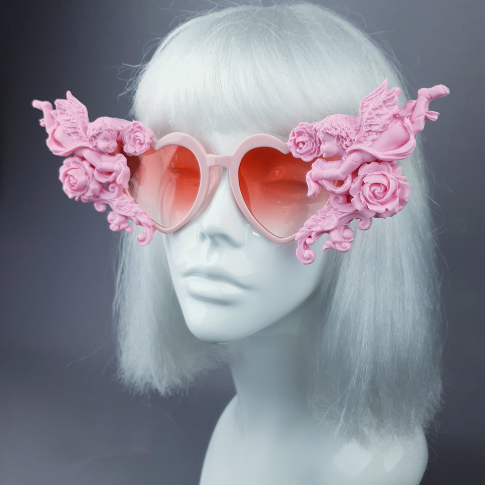 """Doux"" Pastel Pink Heart Shaped Cherub Sunglasses"
