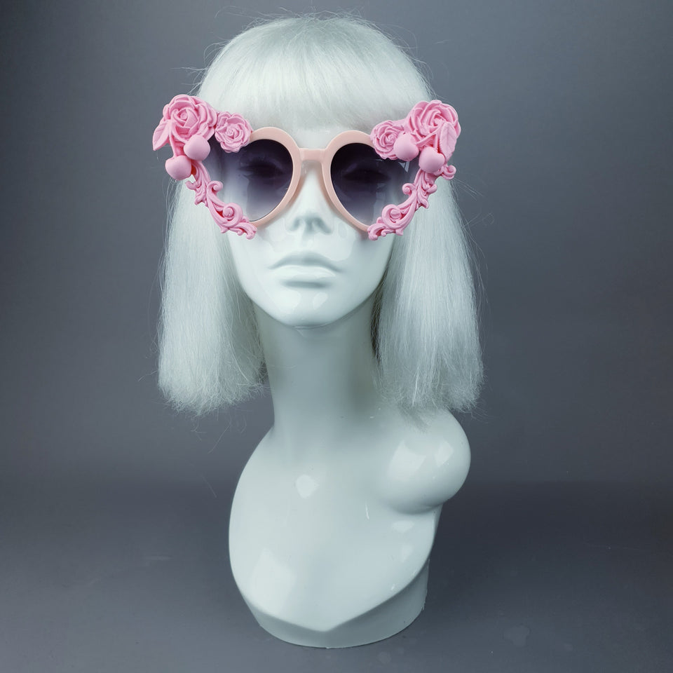 """Zoet"" Pastel Pink Heart Shaped Sunglasses"