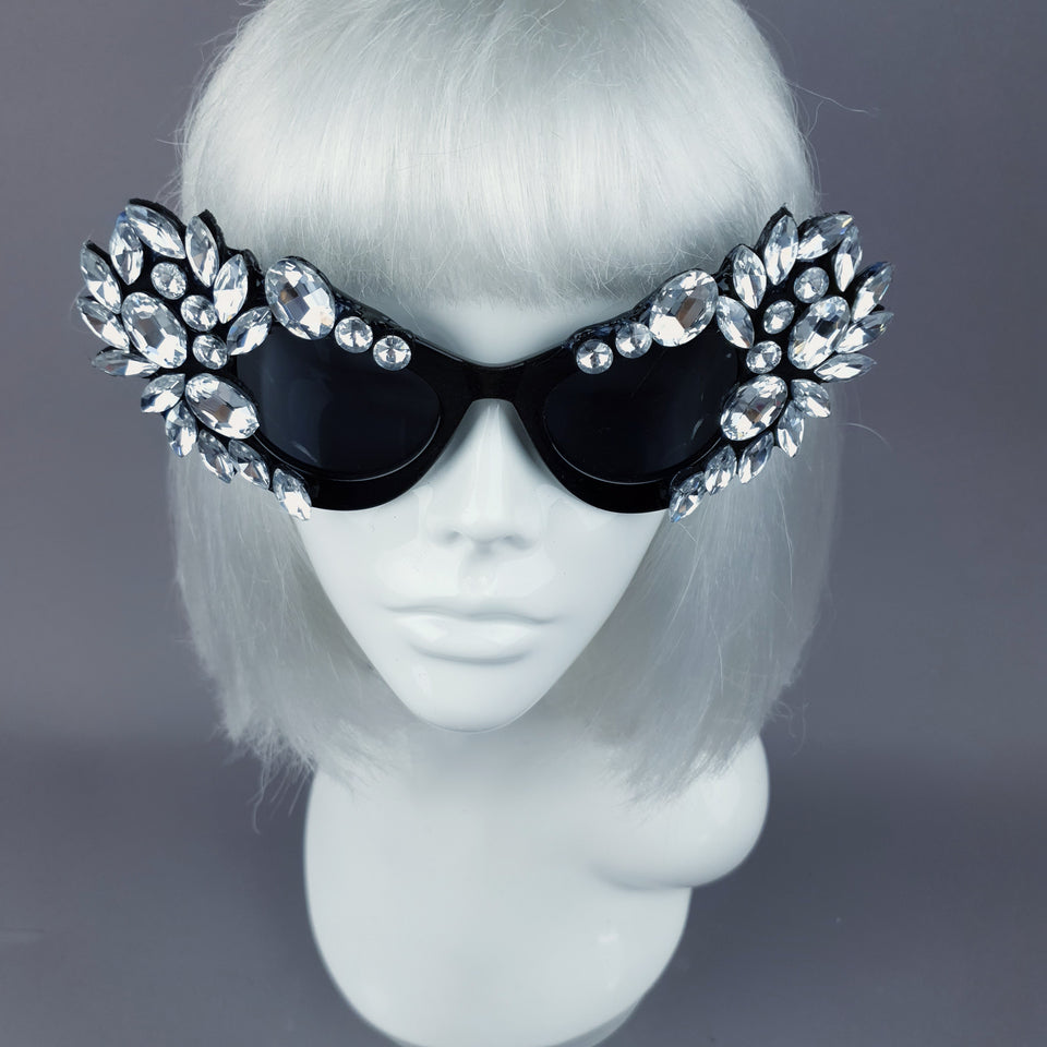 """Galás"" Clear Diamante Jewel Cats Eye Sunglasses"