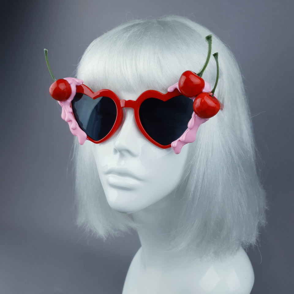 """Lolita"" Cherry Pink Frosting Red Sunglasses"