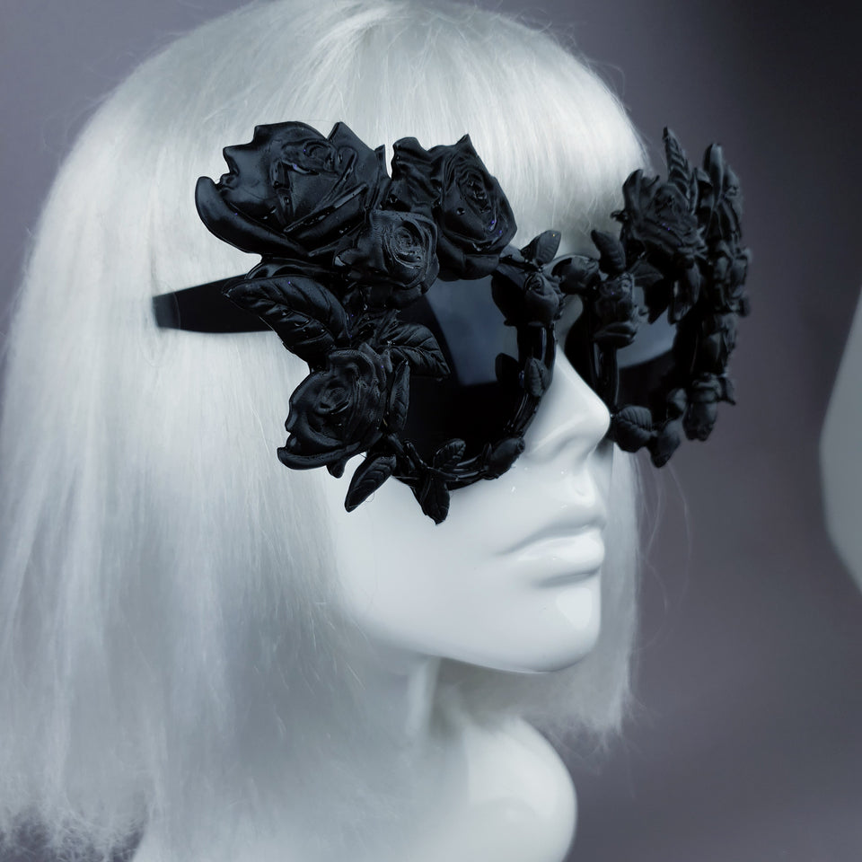 """Amour Sombre"" Black Roses Sunglasses"