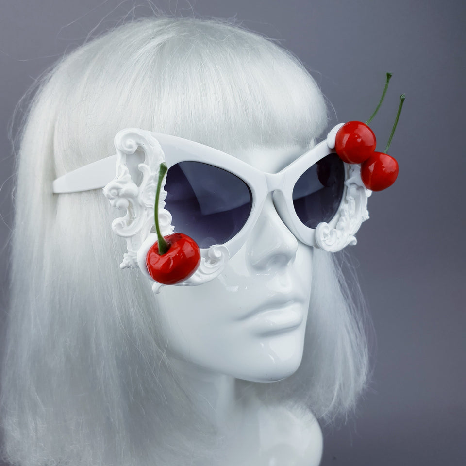 """Crème"" Cherries & Cream White Catseye Sunglasses"