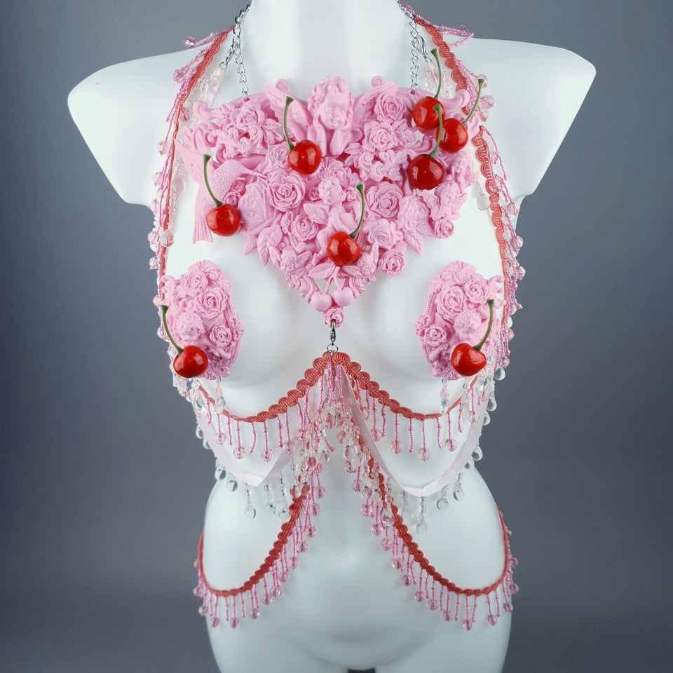 """Maria's Dream"" Pink Cherry Filigree & Beading Body Jewellery with Nipple Pasties"