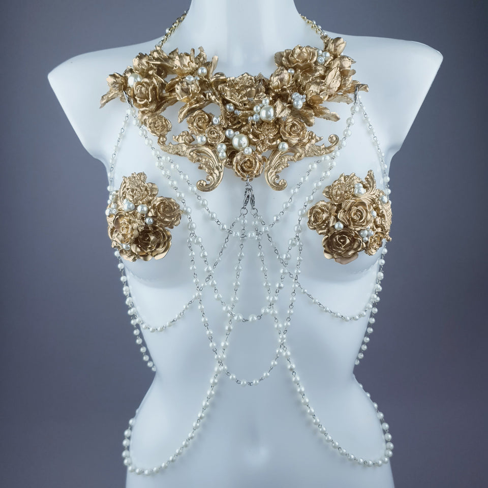 """Alchemy"" Gold Rose & Pearl Harness Body Jewellery & Pasties."