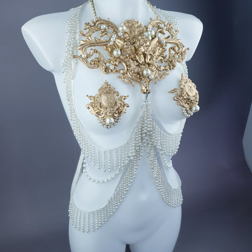 "Acadia"" Gold Filigree & Pearl Harness Body Jewellery & Pasties."