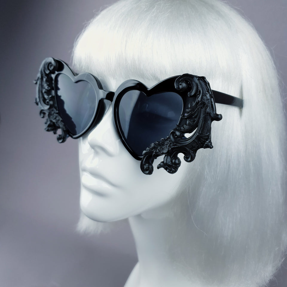 """Beloved"" Black Filigree Heart Shaped Sunglasses"