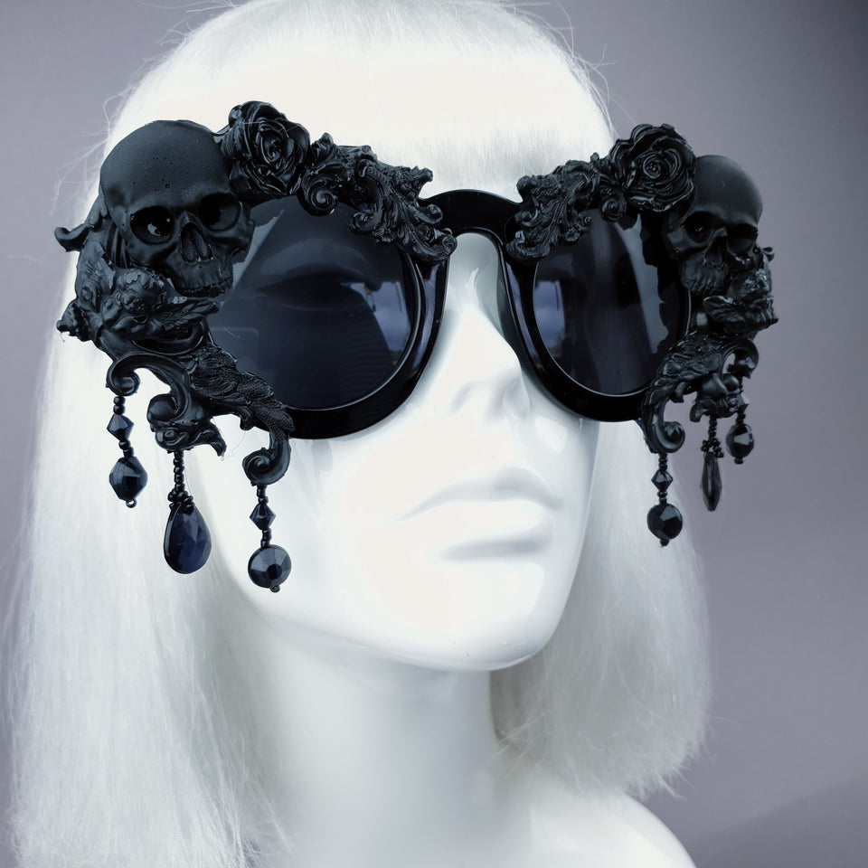 """Wednesday"" Black Skull Filigree Beading Ornate Sunglasses"
