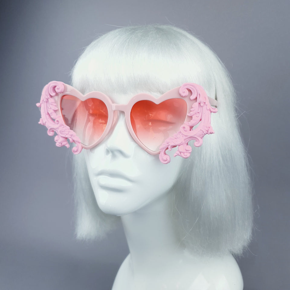"""Beloved"" Pink Filigree Heart Shaped Sunglasses"