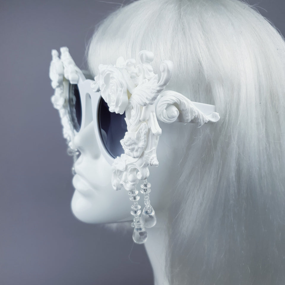 """White Magick"" Filigree Ornate Sunglasses with Beading"