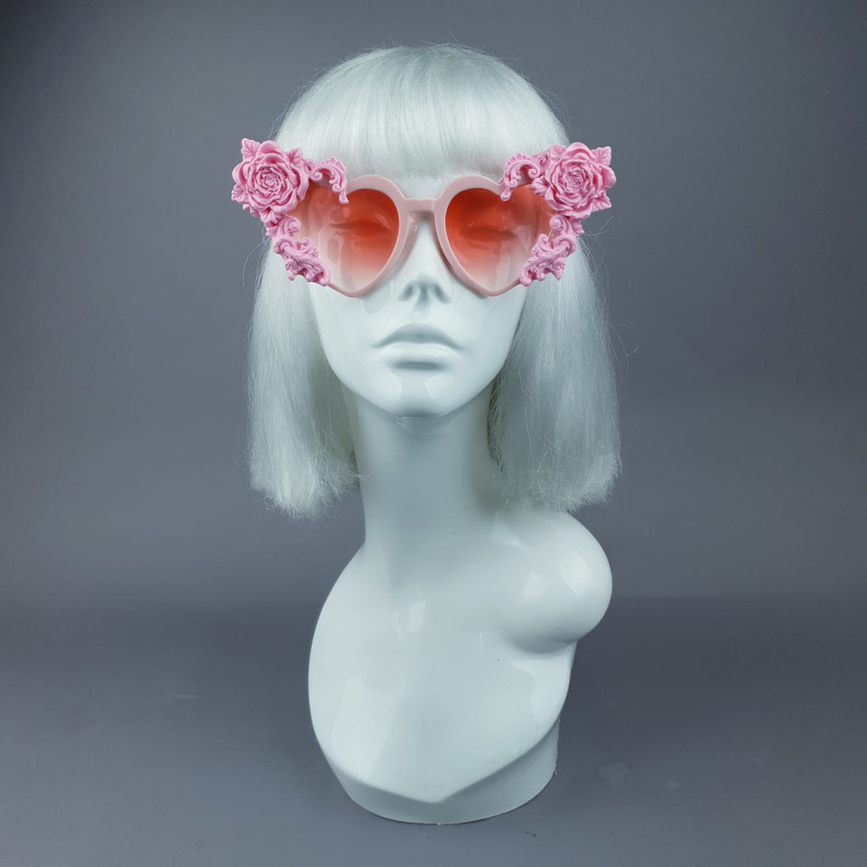 """Lisha"" Pink Rose & Filigree Heart Shaped Sunglasses"