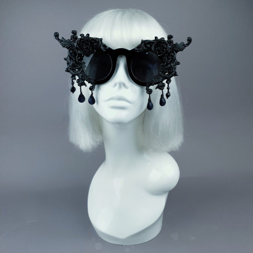 """Black Magick"" Black Filigree Ornate Sunglasses"