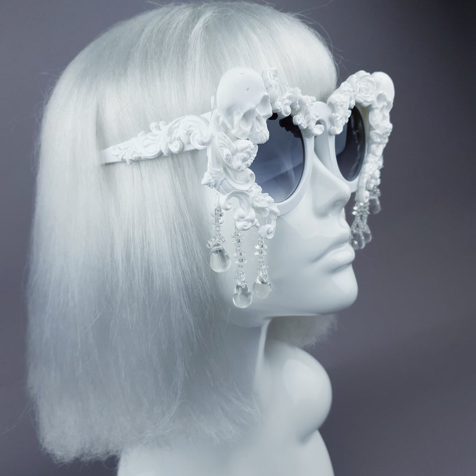 """Wednesday"" White Skull Filigree Beading Ornate Sunglasses"