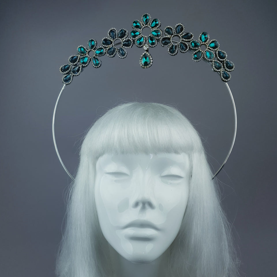 Teal Green Diamante Flower Jewel Halo 32