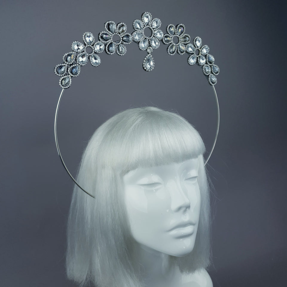 Silver Clear Diamante Flower Jewel Halo 31