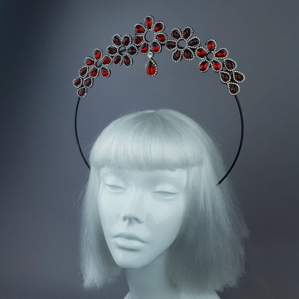 Red Diamante Flower Jewel Halo 29 - PRE-ORDER