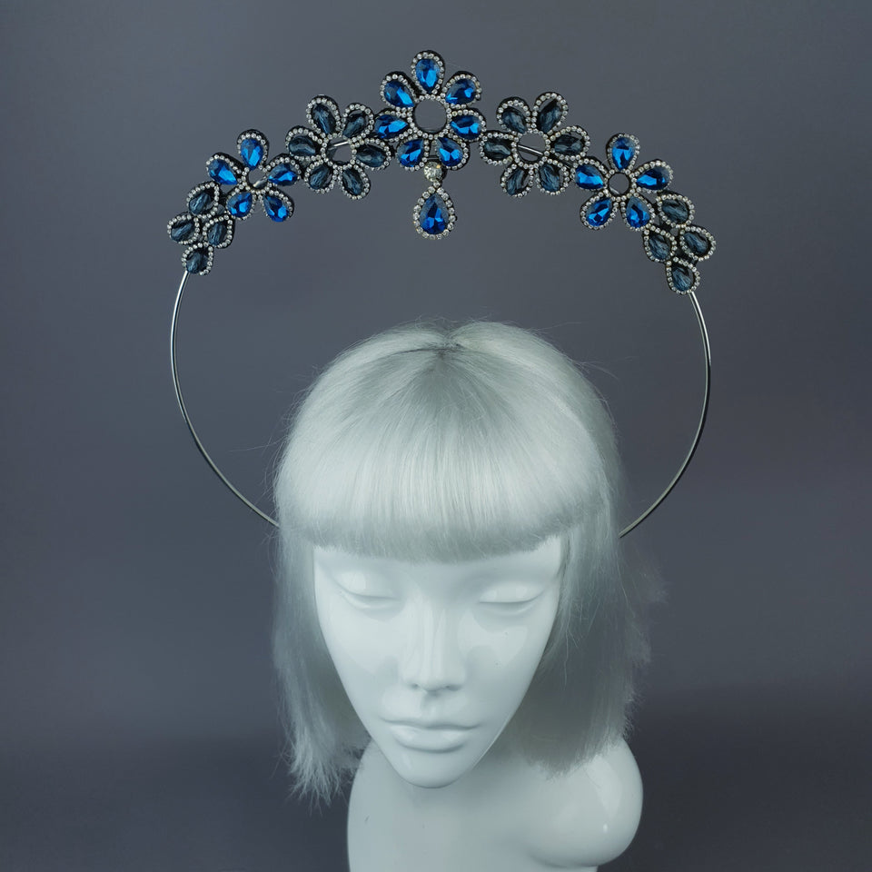Blue Diamante Flower Jewel Halo 28