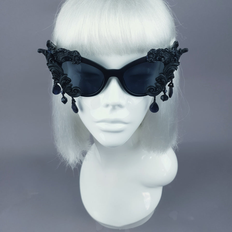 """Angel Eyes"" Black Filigree Beading Catseye Sunglasses"