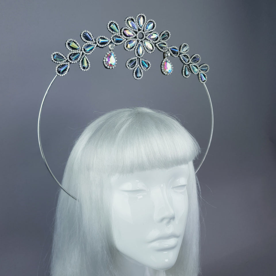 Iridescent Flower Diamante Jewel Halo 41