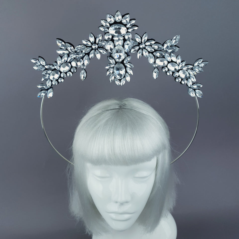 Silver Diamante Jewel Halo 54