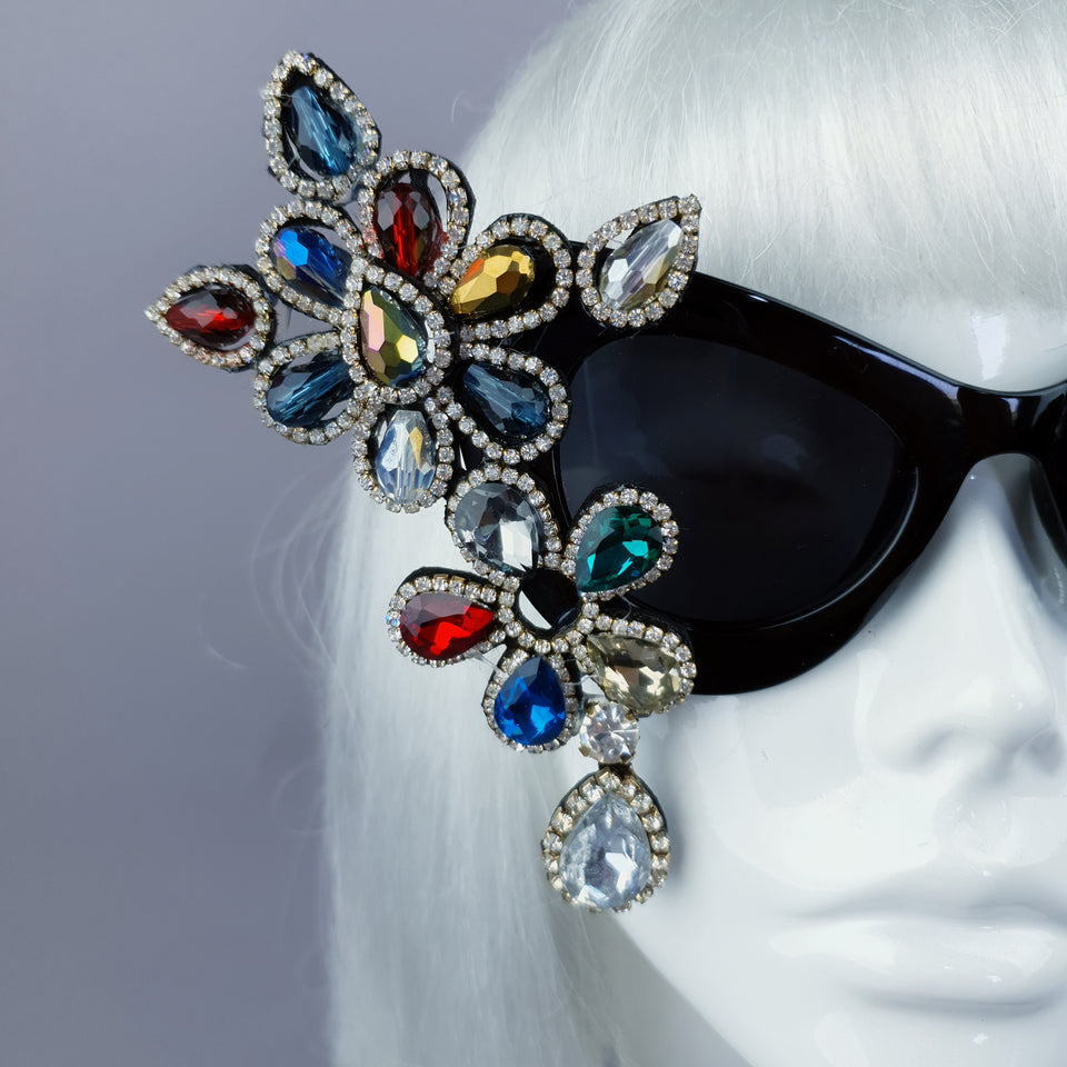"""Exxtra"" Colourful Diamante Jewel Cats Eye Sunglasses"