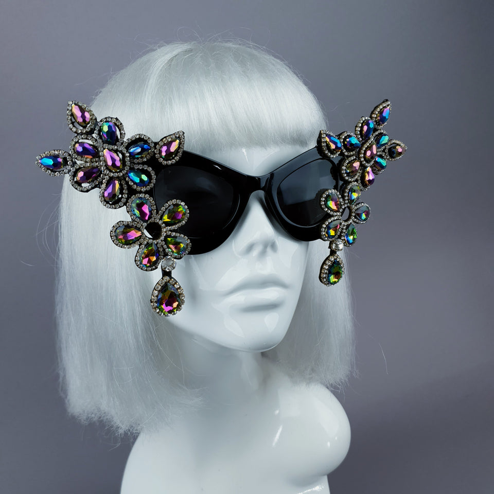 """Exxtra"" Iridescent Diamante Jewel Cats Eye Sunglasses"