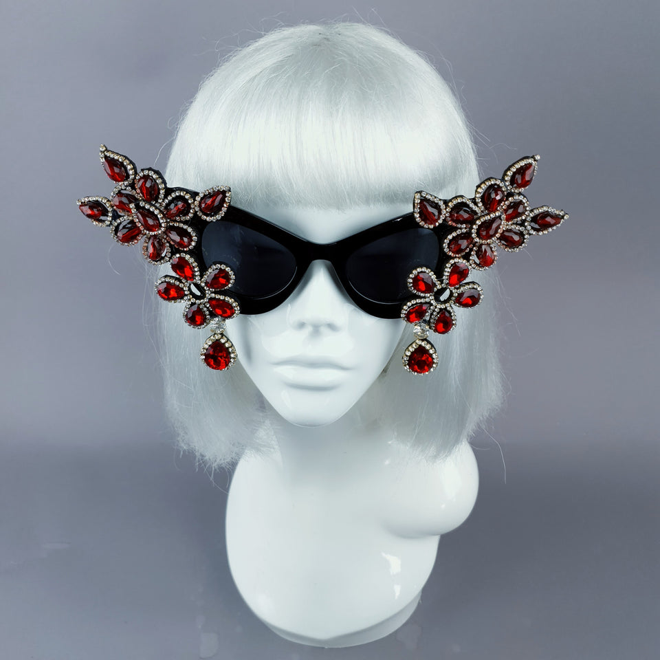 """Exxtra"" Red Diamante Jewel Cats Eye Sunglasses"