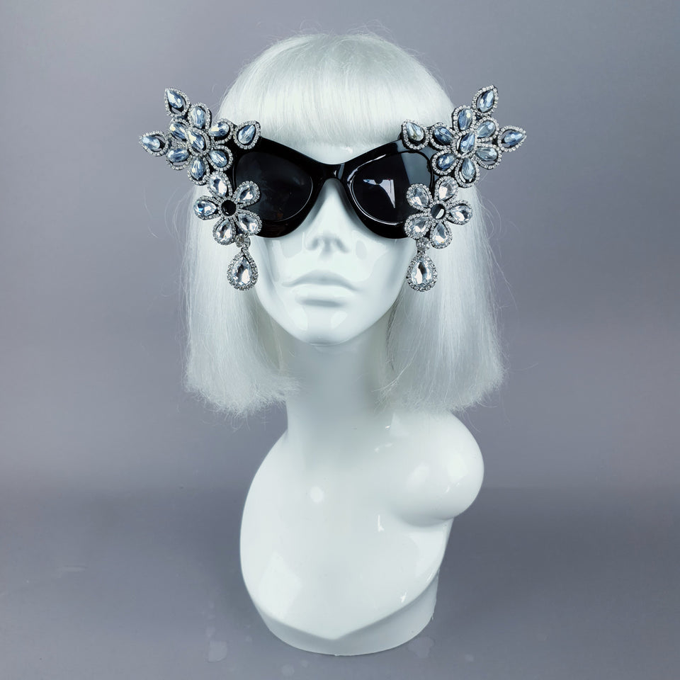 """Exxtra"" Silver Diamante Jewel Cats Eye Sunglasses"