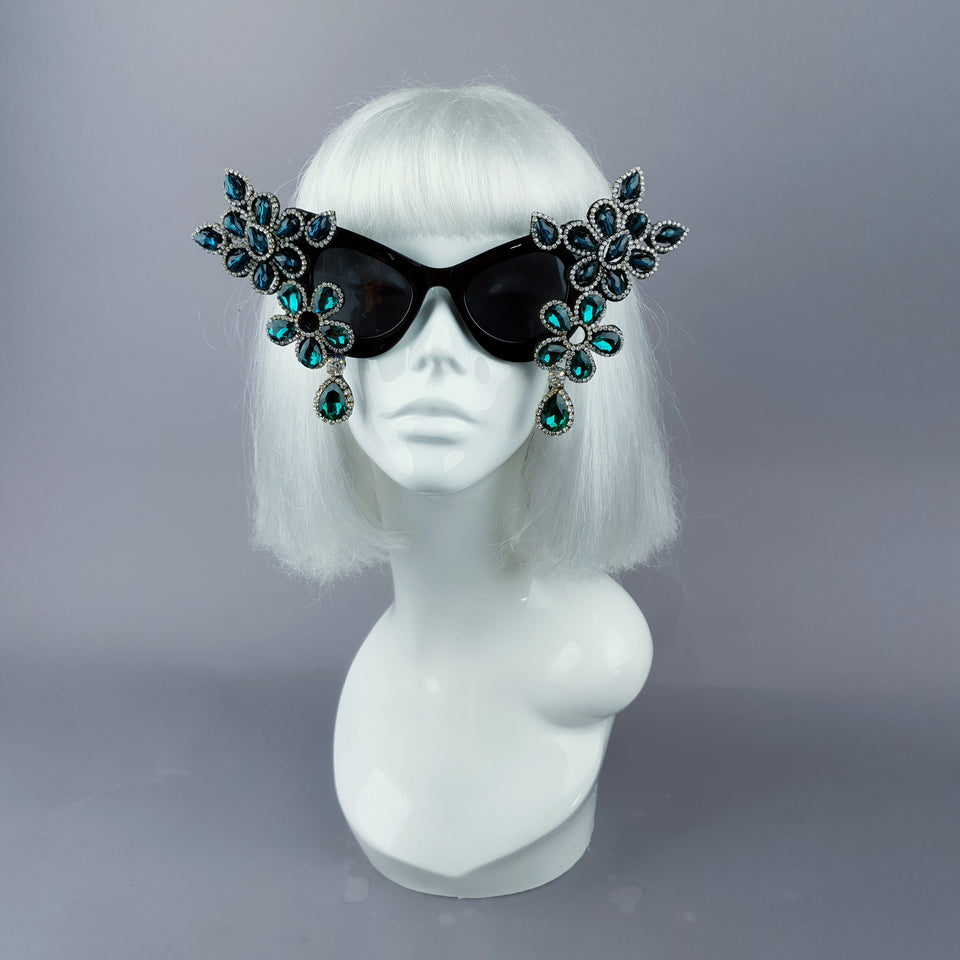 """Exxtra"" Teal Diamante Jewel Cats Eye Sunglasses"