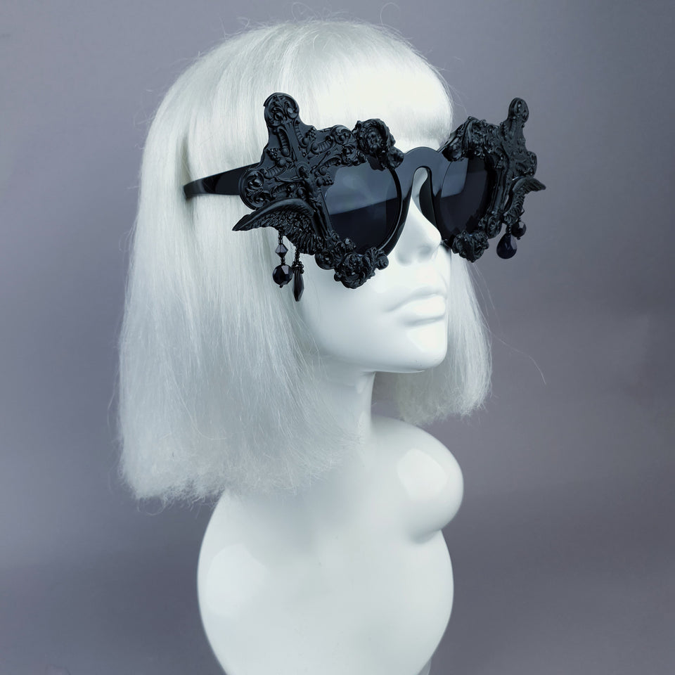 """Black Mass"" Black Crosses Filigree Beading Sunglasses"