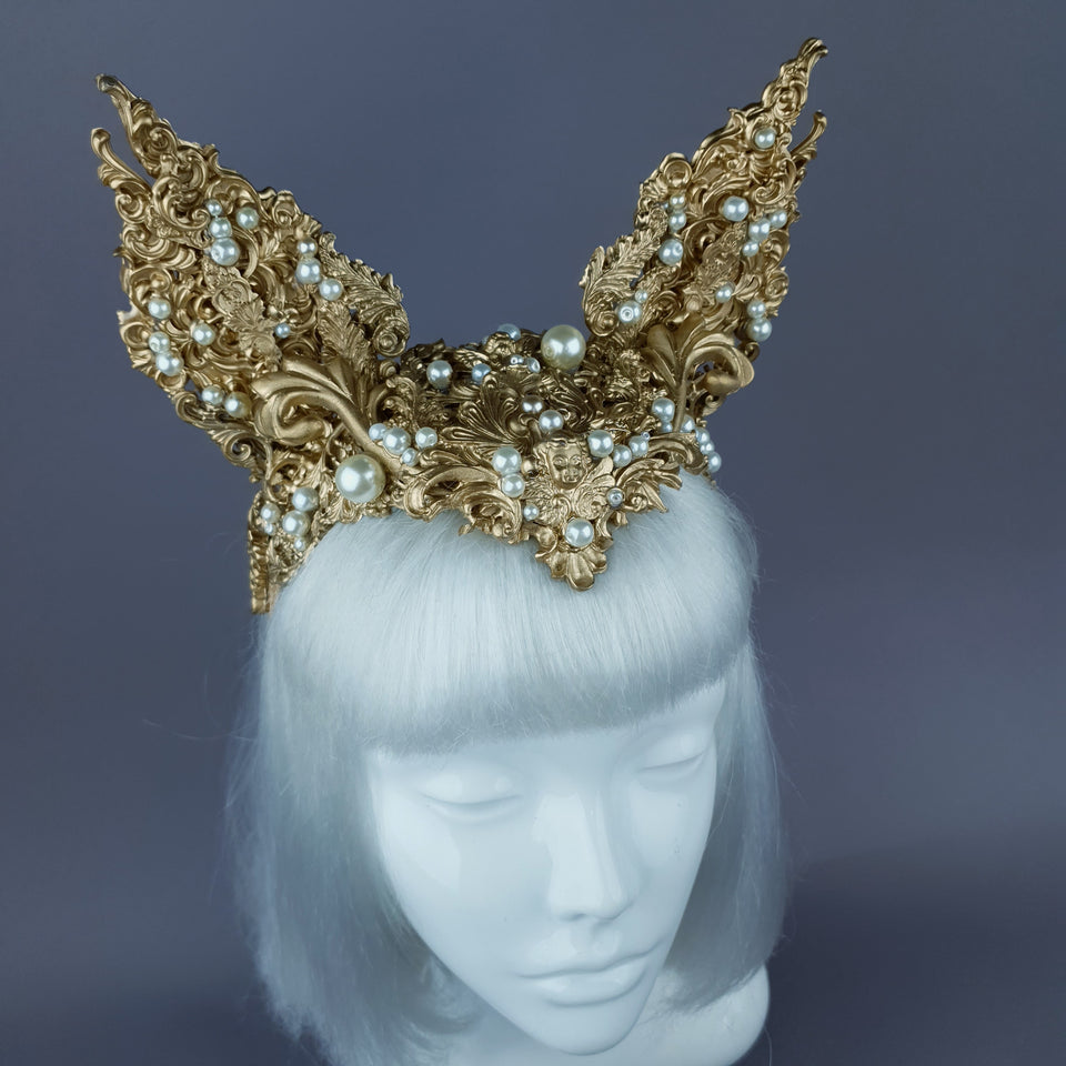 """Kedi"" Gold Filigree Cat Ear Headpiece"